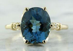3.51 Carat Natural Topaz 14K Solid Yellow Gold Luxury Diamond Ring
