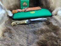 1974 Puma 6377 White Hunter Knife Stag Handles Leather Sheath & Puma Pouch Mint