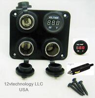 Triple Heavy Duty 20A 12V Plug High Power Voltmeter Socket Plug Outlet Panel RV