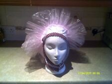 Drag Queen White/Silver One sided  Head dress Pink organza braid ONE SIZE