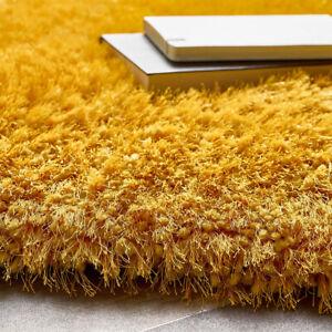 BISEN OCHRA GOLD SHAGGY RUG 80X150 SOFT MODERN NON SLIP BED LIVING ROOM CARPET