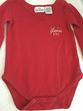BABY GUESS RED LONG SLEEVE ONE  PIECE SZ 3/6M