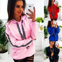 UK Women's Plus Size Long Sleeve Loose Sweatshirt Hooded Pullover Tops Shirt AD