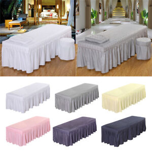 Soft Beauty Bed Cover Massage Table Sheet with Bed Skirt with Hole 4 Sizes