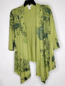 Charlotte Russe Womens Size Medium Green Open Front Sweater Cardigan Polyester