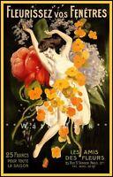 Fleurissez Vos Fenêtres 1921 Flower Your Windows Vintage Poster Print French Ad