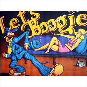 Vintage 1972 Black Light Poster Let's Boogie, Artist Bill Hoorman, Excellent