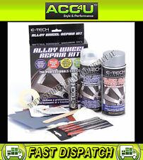 E-Tech SILVER Car Alloy Wheel Refurbishment Spray Paint Lacquer Repair Kit Set