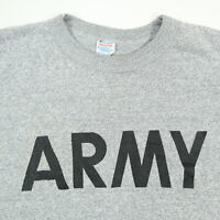Vintage 80s Champion Army T-Shirt SMALL Heathered Gray Single Stitch USA Made