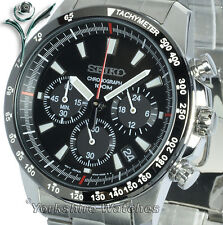 Seiko Quartz Charcoal Black Dial 100m With Stainless Steel Chronograph SSB031P1