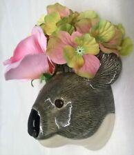 More details for quail ceramic koala head wall pocket or vase wildlife animal figure - small size