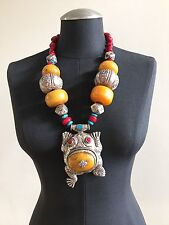 Large Frog Pendant with Copal, Turquoise, and Metal Beads Necklace #180