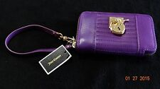 Juicy Couture Signature Leather Tech Wristlet,Crushed Berry