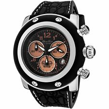 New Glam Rock GK1127 Mens Miami Chronograph Black Silicone Black Dial SS Watch