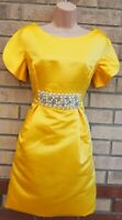 YELLOW SATIN SHORT SLEEVE PEARL BEADED A LINE CURVY FIT PARTY COCKTAIL DRESS 10