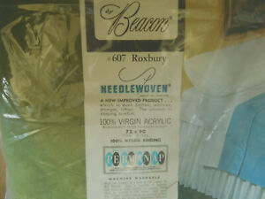 NEW Vintage Beacon Green 100% Acrylic Blanket FULL /TWIN ~ Needlewoven ~ROXBURY~