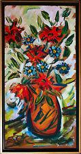 Felix Samuel Pfefferkorn *1945 Blumenvase  expressiv 1974 Acryl 100 x 50 cm