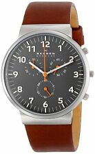 Skagen Men's SKW6099 Ancher Chronograph Grey Dial Brown Leather Watch