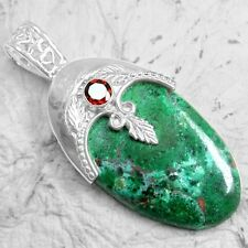 12.52 Grams 925 Sterling Silver Natural Chrysocolla Red Garnet Pendant Jewelry $
