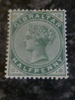 GIBRALTAR POSTAGE STAMP SG8 HALF PENNY DULL GREEN LIGHTLY-MOUNTED MINT