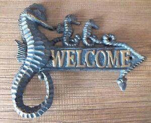 CAST IRON SEAHORSE WELCOME SIGN PLAQUE NAUTICAL SEA THEME