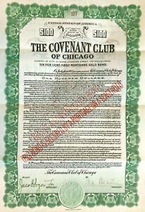 The Covenant Club of Chicago > 1923 Jewish history $100 bond certificate share