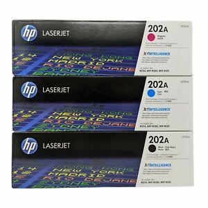 Bundle Of 3 Color Toner Cartridges HP 202A (Cyan Blue, Black, Magenta) OEM New