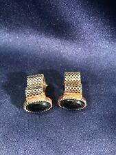Mens Vintage Jewelry GREEN CAMEO MESH WRAP AROUND CUFFLINKS