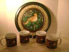 Pretty Set of 4 Ceramic Porcelain Quail Beverage Mugs and Metal Serving Tray