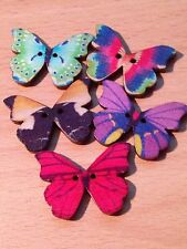 LOT OF 5 BUTTERFLY WOODEN BUTTONS CRAFT SEWING SCRAPBOOKING