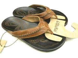 Olukai Men's Mea Ola Leather Sandals Tan/Dark Java - Size11 *NEW*