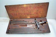 Starrett Depth Micrometer Set 0-9 Inches No. 445 (Inv.33501)