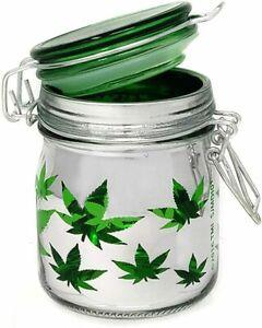 Airtight Glass Stash Jar Large 5 Oz - Weed Leaf Design,SJMD101
