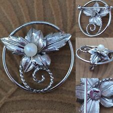 Vintage Estate Sterling Silver Floral Pearl Pin Brooch Textured Artist Design