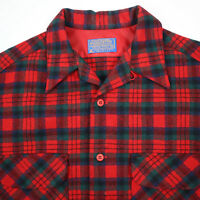 Vtg 60s Pendleton Woolen Mills Wool Shirt Mens MEDIUM Loop Collar Outdoors Plaid