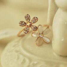 Popular Women Fresh Crystal Gold Plated Opal Flower Ring Charm Jewelry Gift yrt