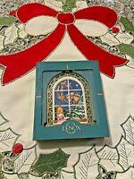 Vintage 1995 Lenox CHRISTMAS WINDOWS 2-Sided Ornament in Original Box-MINTY!