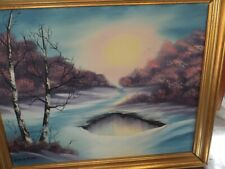 """Landscape painting wooden frame signed by artist 17""""Lx 21""""W"""