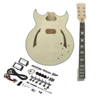 Unfinished DIY Electric Guitar Kit Semi Hollow Basswood Body Maple Neck Gift