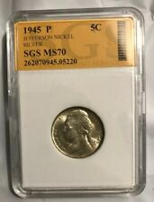 1945 P Jefferson Nickel 5C US Silver Coin Lot# 100028