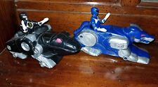 Power Rangers Vintage Toy Lot, blue and black figurine and their vehicles. RARE