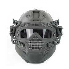 Tactical Protective Helmet Full Face Mask Googles System Airsoft Paintball Grey