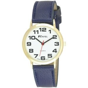 Navy Blue  Ravel Mens Ladies Bold BIG Number Watch with BIG Clear Face