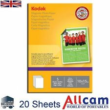 "Kodak Inkjet Magnetic Photo Paper Glossy 6x4"" to Print Fridge Magnet Inkjet 20pc"