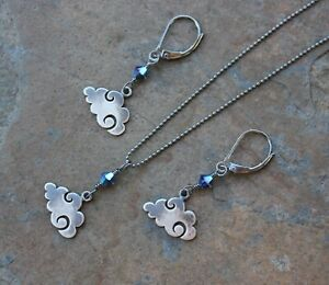 Stormy Weather Antique Sterling Silver Clouds Charm Necklace, Earrings or Set
