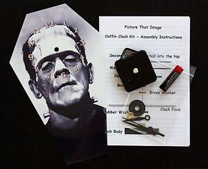 DIY Coffin Wall Clock Kit 25.5cm High Boris Karloff as the Monster Horror Movie