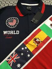Mens World Team Polo Shirt kirsp Nyc Size L