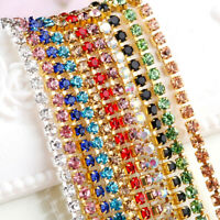 Thin Crystal Rhinestone Close Cup Chain Trim Claw Chain Jewelry Craft 1M