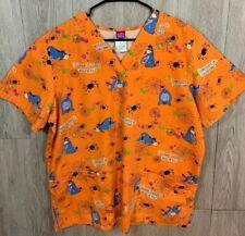 The Wonderful World Of Disney Nurse Scrub Top Large Halloween Eeyore Orange