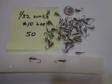 Fifty (50) 1/32 oz shad DART Nickel jig heads size 10 hooks - Made in USA NOS